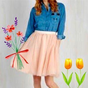 Modcloth Comme Toi Blush Pink Ballerina Skirt L